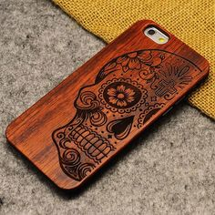 Handmade Carving Skull Wood  Case For Iphone 5/5S/6/6Plus