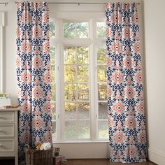 Drapery Panel in Navy and Coral Ikat by Carousel Designs.