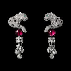 CARTIER DIAMOND AND RUBY PANTHÈRE EARRINGS.