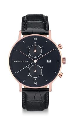 Wristwatch with black dial, black leather strap and rosegold colored stainless steel case, sapphire glass, stop function and calendar indication ✓ Show now!