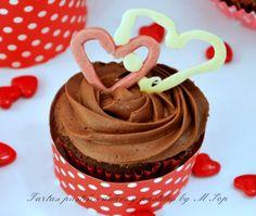 Cupcakes san Valentin de chocolate