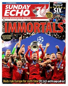 """""""Sunday's front page Liverpool Football Club, Liverpool Fc, Joe Thomas, History Of England, Premier League Champions, Rotterdam, Times, Twitter, Rome"""
