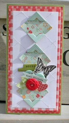 Best Friends card for October Afternoon -- love the chipboard corners!