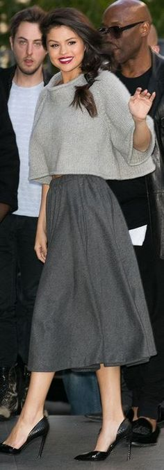 Who made Selena Gomez's gray skirt, black pumps, and cropped sweater?
