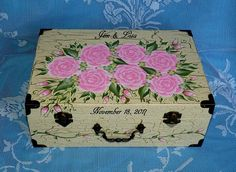 Distressed Wood Wedding Keepsake Card Box Personalized Custom