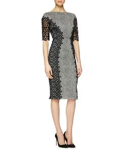 Lace-Detailed Speckled Dress by Lela Rose at Neiman Marcus. #fashion
