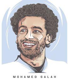 Mohamed Salah, Fifa Football, Football Art, Guy Drawing, Drawing For Kids, Football Player Drawing, Line Art Vector, School Murals, Fc Liverpool