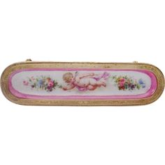 Antique French Sevres Style Porcelain Putti Pen Tray