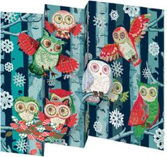 Roger la Borde | Christmas Owls Notecard Pack (5 tri-fold cards)