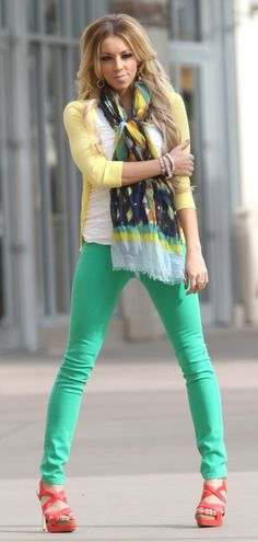 Whitney Nunes. green skinny jeans from Bohme Boutique
