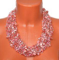 """Купить Колье """"НЕЖНОСТЬ"""" - розовый, стильные штучки, авторские украшения, воздушное колье, воздушка"""