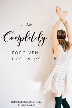 "The only way to combat the enemy's lies is with God's truth. God says, ""I am completely forgiven."" 1 John 1:9 ""If we confess our sins, he is faithful and just and will forgive us our sins and purify us from all unrighteousness."" Christian Inspiration"