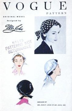 1950s Designer Mr John Hat Pattern VOGUE 8546 Narrow Brim Hat  Easy Chic One Size Vintage Sewing Pattern