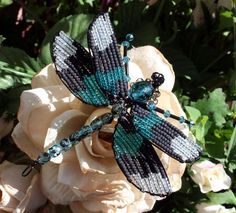 Beaded Dragonfly Hair Bobby Pin Dark Aqua by Jenifersfamilyjewels, $44.00