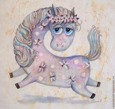"""Лошадка """"Стрекоза"""" - белый,лошадь,конь,картина,год лошади,подарок на новый год"""