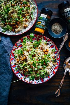 Turmeric Chickpeas w/ Lime Couscous | Well and Full | @frontiercoop