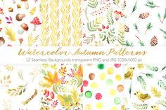 Watercolor Autumn Patterns Vol.2 by LarysaZabrotskaya on @creativemarket