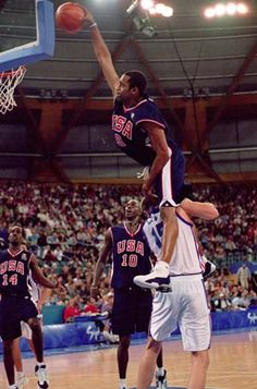This is a dunk committed by Vince Carter, another one of the greatest dunkers of all time. This is in a category all of its own, mainly because no one else has ever managed to jump over a 7 foot tall center.