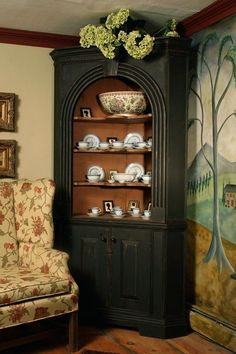 Corner cupboards make a BIG statement! Decor, Furniture, Home, Colonial Furniture, Fantastic Furniture, Decorating Your Home, Dining Room Corner, Colonial Decor, Home Decor