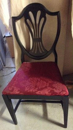 Greystone Fine Furniture - Set of 4 Vintage Black painted Shieldback Chairs with Burgundy Upholst