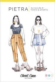 Pietra Pants & Shorts Sewing Pattern - Lightweight denim and black twill Sewing Patterns Free, Free Sewing, Shirt Patterns, Dress Patterns, Fashion Patterns, Sewing Hacks, Sewing Tutorials, Sewing Tips, Sewing Ideas