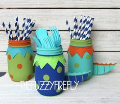 Your place to buy and sell all things handmade Original cute Dinosaur mason Jars,Custom dinosaur mason jar centerpiece,dinosaur party,dinosaur bab Dinosaur First Birthday, Dinosaur Party, Baby Birthday, Elmo Party, Mickey Party, Pirate Party, Princess Birthday, 1st Birthdays, 3rd Birthday Parties