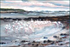 """""""A Hundred Pink Flamingoes"""".  En-plein air by Beth Lowe in Kommetjie, South Africa.  Visit her gallery!"""