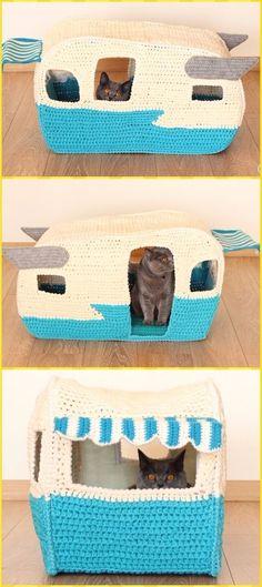 Crochet T-shirt Yarn Cat Camper Cave Paid Pattern - Crochet Cat House Patterns Crochet Cat Toys, Crochet Home, Love Crochet, Crochet Gifts, Crochet Animals, Crochet Baby, Knit Crochet, Crochet Motifs, Crochet Patterns