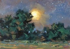 STARRY+STARRY+NIGHT,+MOON,+NOCTURNE+by+TOM+BROWN,+painting+by+artist+Tom+Brown