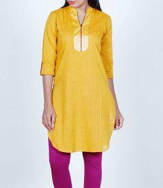 Mustard yellow, cotton, handloom kurta, Shop at http://www.shalinijamesmantra.com/kurtas/mustard-cotton-handloom-kurta.html
