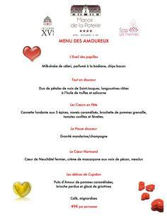 Le menu des Amoureux Spécial Saint Valentin