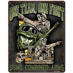 USMC 'One Team One Fight' 7.62 Design Vintage Steel Sign