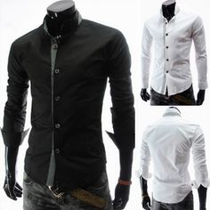 Men's Fashion Casual Slim Delicate Collar Patch Long-sleeved Shirt