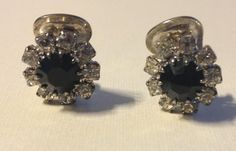 Rhinestone Clip On Flower Earrings Black and by vintagerepublic1, $15.00