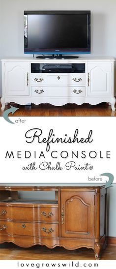 A media console gets a BIG Chalk Paint® makeover! Come see the transformation step-by-step and the surprise hidden inside! | LoveGrowsWild.com