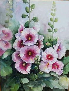 Watercolor Landscape, Watercolour Painting, Watercolor Flowers, Blue Iris Flowers, Caran D'ache, Guache, Hollyhock, Botanical Prints, Oeuvre D'art