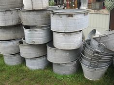 Galvanized planters!  I love them! Oh, I'd love to have these!