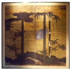 18th Century Japanese Two-Fold Screen | From a unique collection of antique and modern paintings and screens at https://www.1stdibs.com/furniture/asian-art-furniture/paintings-screens/