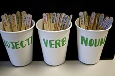 Each student comes up and picks a stick out of my hand; they have to place the word in the right cup. Then, after all sticks have been sorted, students can choose one stick from each cup and create a sentence using all three words. A great informal assessment!  Great idea!