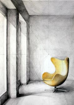 Interior - Arne Jacobsen Egg Chair, by Klara Ostaniewicz Skizzen Interior Design Renderings, Drawing Interior, Interior Rendering, Interior Sketch, Chair Drawing, Architecture Drawings, Chinese Architecture, Modern Architecture, Sketch Design