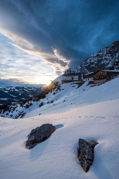 Gruttenhütte, Tyrol (Austria) by Antony Harrison Amazing Places On Earth, Beautiful Places, Tyrol Austria, Snow Scenes, Winter Wonderland, The Good Place, Mountains, Landscape, Photography