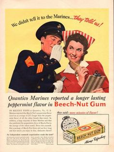 1941 BeechNut Gum print ad Tell it to the Marines by Vividiom, $9.00