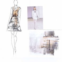 Fashion Sketchbook - fashion design development & fashion illustrations inspired by Gareth Pugh; exploring pattern & texture // Alex Mckevitt