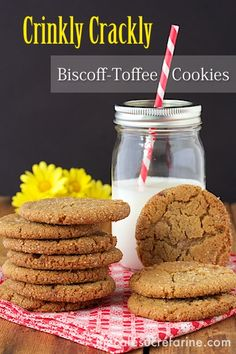 """Oh my! Everyone flips over these. I""""ve had many people say they were the best cookies they've ever eaten. Crinkly Crackly Biscoff Toffee Cookies"""