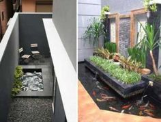 63 comfy minimalist garden house with fish pond ideas Indoor Water Features, Pond Water Features, Small Garden Landscape, Small Space Gardening, Pond Design, Garden Design, House Design, Garden Fence Art, Fish Pond Gardens