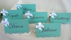 Blue Place Card Escort Name Card Turquoise Auqa Teal Robins Egg Blue Wedding Place Cards Birthday Shower Table Reception Cards  Color (9.99 USD) by AllThingsAngelas