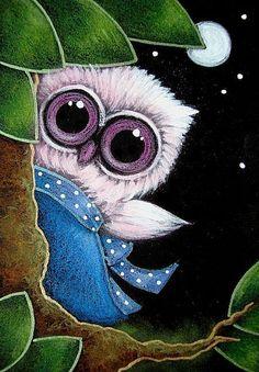 TINY PINK OWL 1ST BLUE DRESS