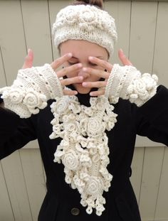 RoseOnie Scarf Collection, Includes 1 scarf, 1 head scarf, 1 set of fingerless gloves, Rose Lace, Merino Wool, Medium & Long Length avail by ValerieBaberDesigns on Etsy https://www.etsy.com/listing/157897295/roseonie-scarf-collection-includes-1