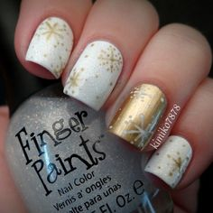 white and gold with snowflakes
