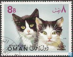 Postage Stamps - Fantasy country - State of Oman-cats (I)